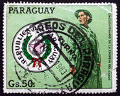Postage stamp Paraguay 1983 National Arms and Chaco Soldier — Stock Photo