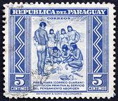 Postage stamp Paraguay 1946 Primitive Postal Service among India — Stock Photo