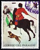 Scène hivernale timbre-poste paraguay 1968, par pieter brueghel le — Photo