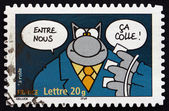 Postage stamp France 2005 Cat, Comics by Philippe Geluck — Stok fotoğraf