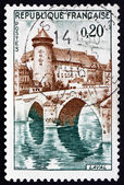 Postage stamp France 1962 Chateau and Bridge, Laval — Stock Photo