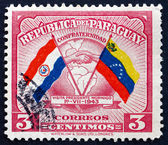Postage stamp Paraguay 1945 Handshake, Map and Flags — Stock Photo