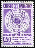 Postage stamp Paraguay 1967 Globe and Lions Emblem — Stock Photo