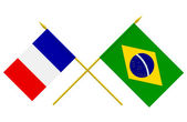 Flags, France and Brazil — Stock Photo