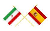 Bandiere, iran e Spagna — Foto Stock