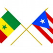 Flags, Puerto Rico and Senegal — Stock Photo