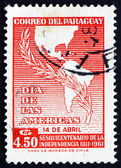 Postage stamp Paraguay 1962 Map of America and Laurel Branch — Stock Photo