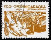 Selo postal bananas de Nicarágua 1983, reforma agrária — Fotografia Stock