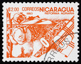 Postage stamp Nicaragua 1983 Cotton, Agrarian Reform — Stock Photo