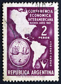 Postage stamp Argentina 1957 Map of Americas — Stock Photo