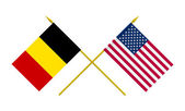 Flags, USA and Belgium — Stock Photo