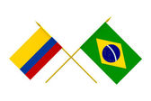 Flags, Brazil and Colombia — Stock Photo