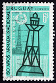 Postage stamp Uruguay 1968 Lighthouse and Buoy — Stock Photo