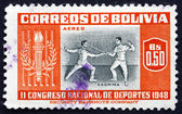 Postage stamp Bolivia 1951 Fencing — Stock Photo