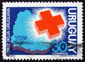 Postage stamp Uruguay 1972 Red Cross and Map of Uruguay — Zdjęcie stockowe