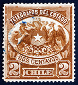 Postage stamp Chile 1904 Coat of Arms of Chile — Stock Photo