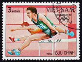 Postage stamp Vietnam 1983 Hurdles, 1984 Olympics, Los Angeles — Stock Photo