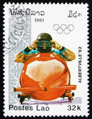 Postage stamp Laos 1991 Bobsled, Winter Sport — Stock Photo