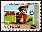 Postage stamp Vietnam 1985 Goalkeeper in Action — Stock Photo