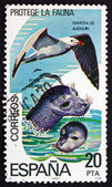 Postage stamp Spain 1978 Sea Gulls and Seals — Stock Photo