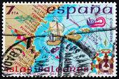 Postage stamp Spain 1981 Map of Balearic Islands — Stock Photo