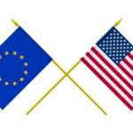 Flags, USA and European Union — Stock Photo #48952115