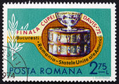 Postage stamp Romania 1972 Tennis Racket and Davis Cup — Stock Photo