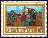 Postage stamp Romania 1973 Shipyard Workers, by Henri Catargi — Stock Photo