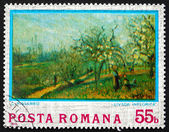 Postage stamp Romania 1974 Orchard in Bloom, by Camille Pissarro — Stock fotografie