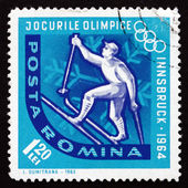 Postage stamp Romania 1963 Cross-country Skiing — Photo