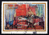 Postage stamp Yugoslavia 1973 Room with Slovak Woman, by Tartagl — Stock Photo