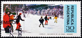 Postage stamp Argentina 1977 Skiers, San Martin de los Andes — Stock Photo