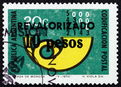 Postage stamp Argentina 1975 Post Horn — Stock Photo
