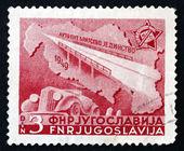 Postage stamp Yugoslavia 1950 Bridge, Map and Automobile — Stock Photo
