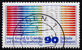 Postage stamp Germany 1980 Oscilogram Pulses and Ear — Stock Photo
