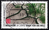 Postage stamp Germany 1989 Barren and Verdant Soil — Stock Photo