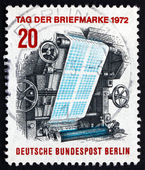 Postage stamp Germany 1972 Stamp-printing Press — Stock Photo