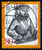 почтовая марка германии 1988 ульрих риттер фон гуттена, человека — Стоковое фото