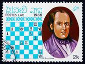 почтовые марки лаоса 1988 адольф андерсен, чемпион по шахматам — Стоковое фото