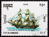 Postage stamp Cambodia 1990 Astrolabe, French Exploration Ship — Stock Photo