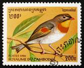 Postage stamp Cambodia 1996 Red-billed Leiothrix, Bird — Stock Photo