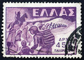 Postage stamp Greece 1949 Abduction of Children — Stock Photo