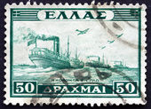 Postage stamp Greece 1946 Naval Convoy — Stock Photo