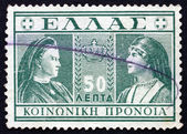 Postage stamp Greece 1939 Queens Olga and Sophia — Stock Photo