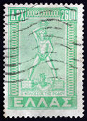 Postage stamp Greece 1950 Statue of Greek Titan-god — Stock Photo