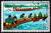 Postage stamp Laos 1988 Canoeing — Stock Photo