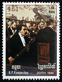 Postage stamp Cambodia 1985 Opera Orchestra, by Edgar Degas — Stock Photo