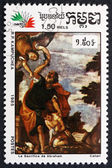 Postage stamp Cambodia 1985 Sacrifice of Abraham, by Paolo Veron — Stock Photo
