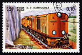 Postage stamp Cambodia 1984 Locomotive BB-1002, France — Stock Photo
