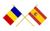 Flags, Romania and Spain — Stock Photo